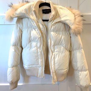 BCBGMaxAzria White Puffer Jacket with Fur Collar